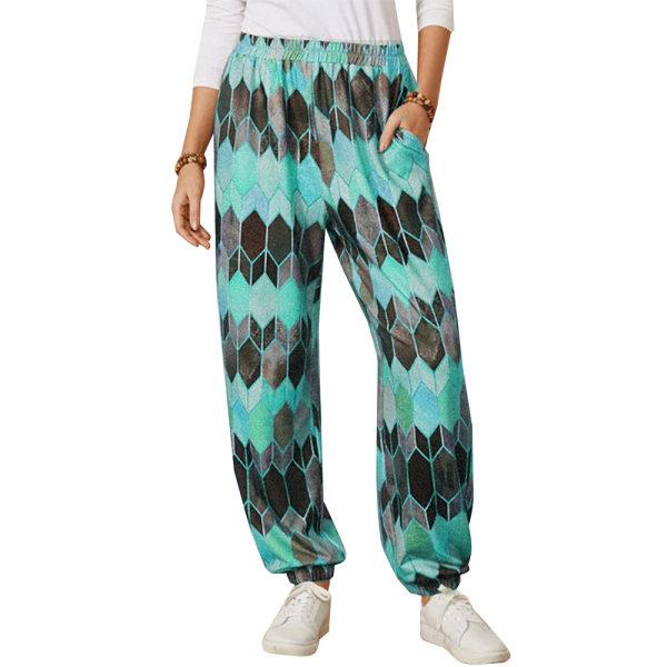 Kvinnors retro geometriska byxor _ trendiga sportbyxor blå XL