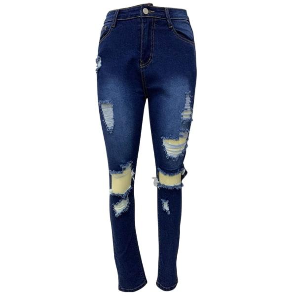 Kvinnors rippade pojkvän jeans nödställda denim ankel längd Jean blå S