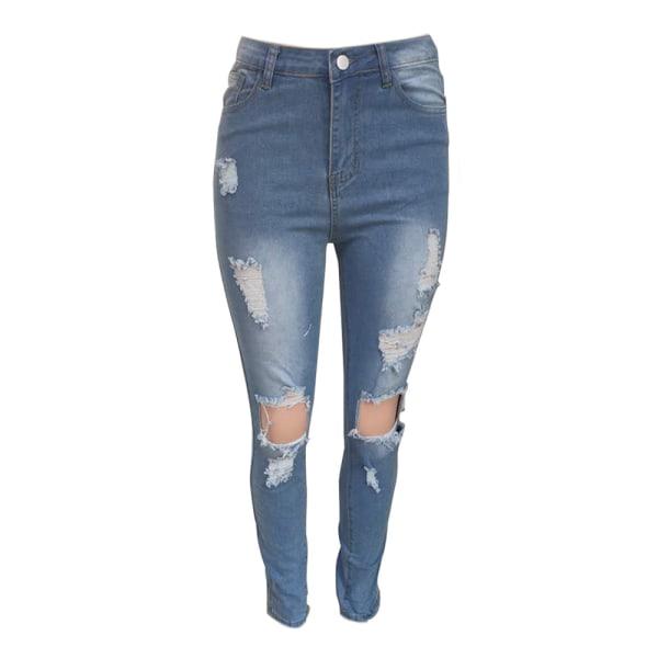 Kvinnors rippade pojkvän jeans nödställda denim ankel längd Jean ljusblå L