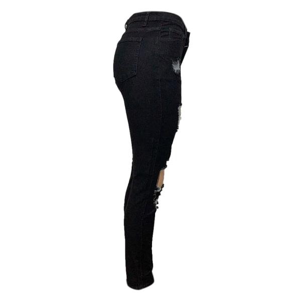 Kvinnors rippade pojkvän jeans nödställda denim ankel längd Jean svart XL