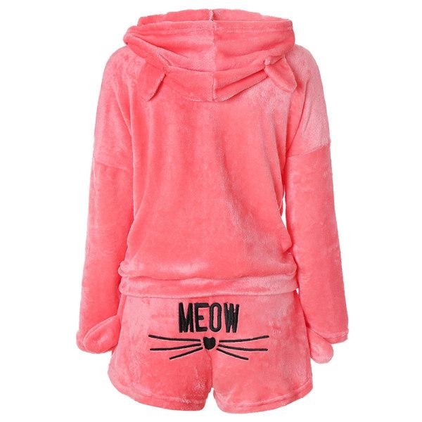 Kvinnors söta flanellkatt broderade pyjamaset Hoodie Set Rosa XL