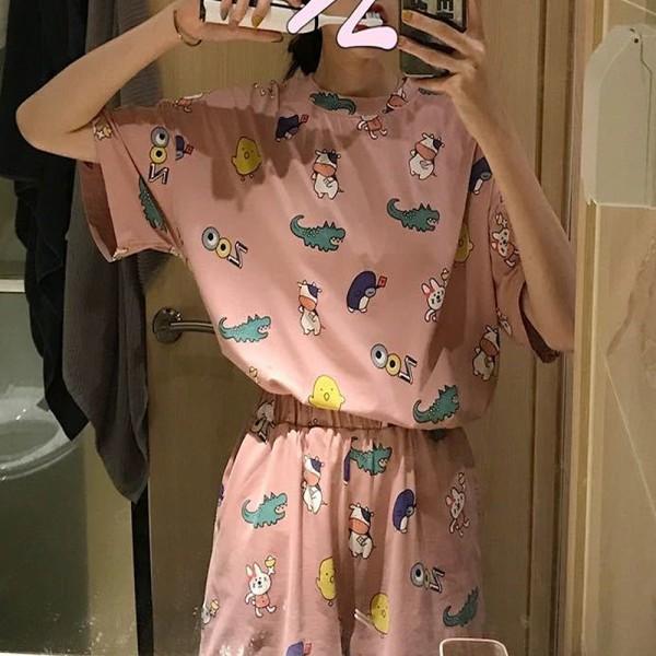 Dammode pyjamas med kort ärm och tryck Apricot Crocodile L