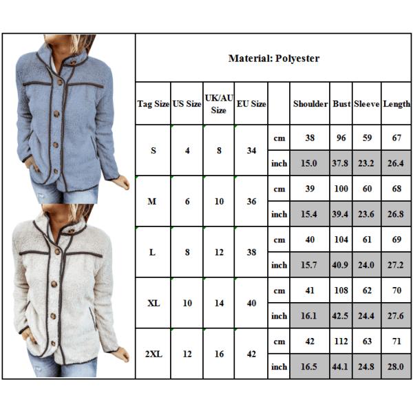 Kvinnors vinter fluffiga långärmad knapp Casual jacka utkläder gråblå M