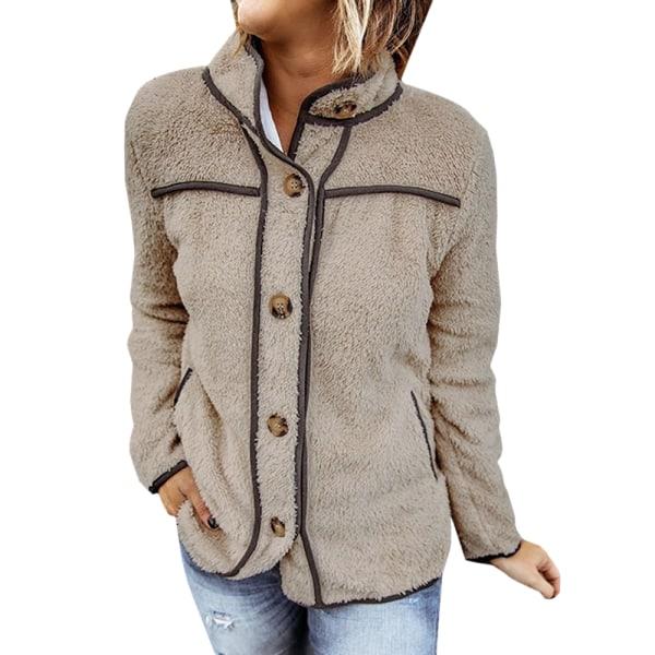 Kvinnors vinter fluffiga långärmad knapp Casual jacka utkläder kamel 2XL
