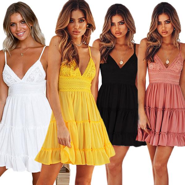 Kvinnors sexiga spetsar hängslen klänning grimma båge prinsessa klänning Pink M