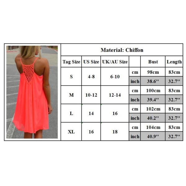 Dam Casual Mode kjol Backless Mesh Fluorescerande klänning rose red L
