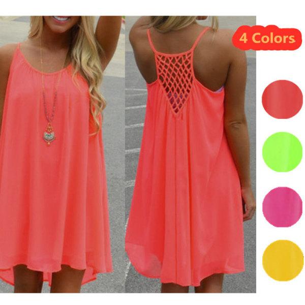 Dam Casual Mode kjol Backless Mesh Fluorescerande klänning orange S
