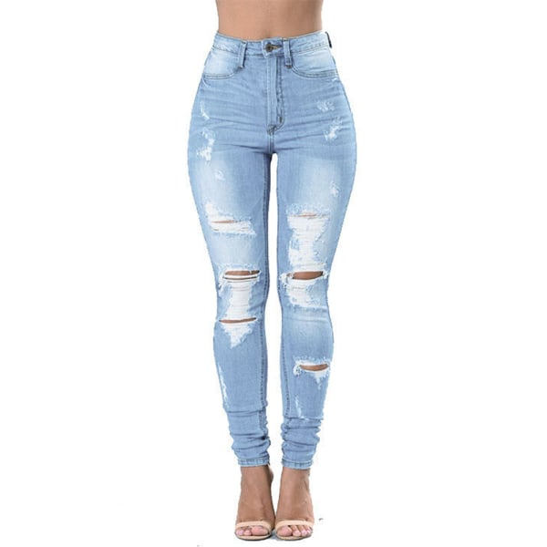 Ladies Destroyed Ripped High Waisted Denim Pants Skinny Jeans