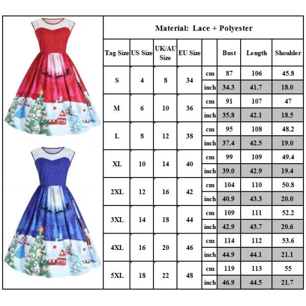Nyårsklänning, dam, ärmlös tryckt maxiklänning red XL