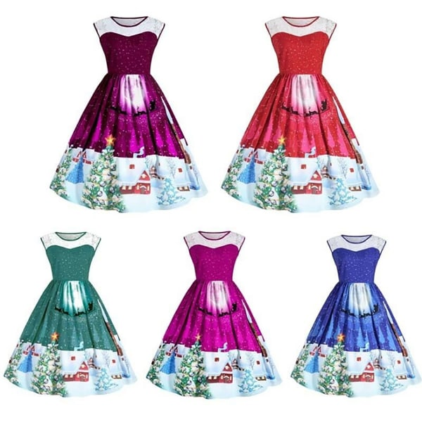 Ladies New Year Dress Christmas Sleeveless Printed Maxi Dress blue 4XL