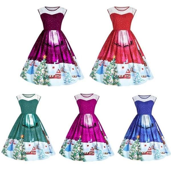 Ladies New Year Dress Christmas Sleeveless Printed Maxi Dress rose red M