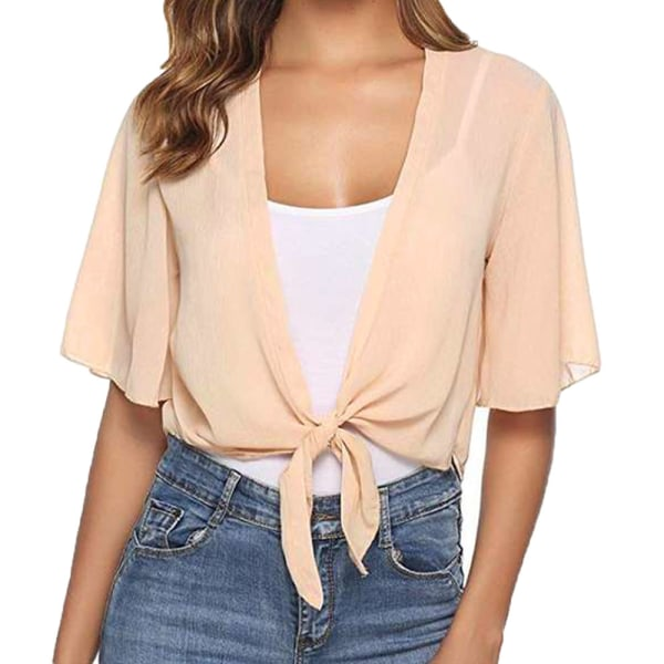 Dam kortärmad chiffongskjorta för damer Apricot L