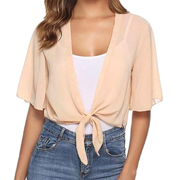 Dam kortärmad chiffongskjorta för damer Apricot XL