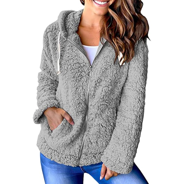 Ladies Zipper Plush Jacket Ladies Teddy Bear Hooded Jacket grå 2XL