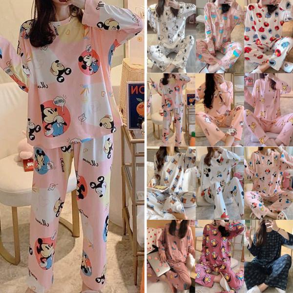 Långärmad pyjamas för kvinnor pyjamas med tecknade tryck Långär Mickey White M