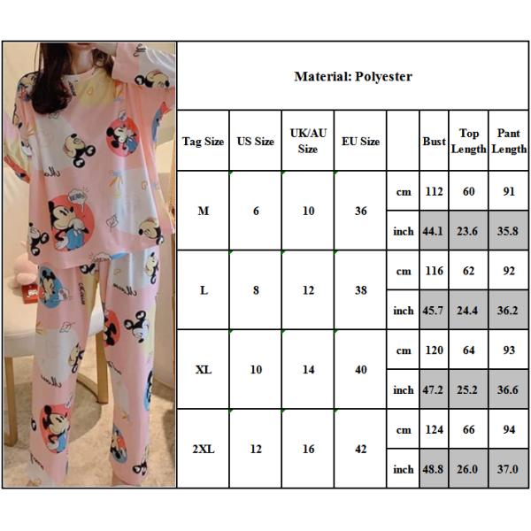 Långärmad pyjamas för kvinnor pyjamas med tecknade tryck Långär Mickey huvud 2XL