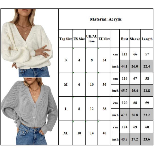 Långärmad tröja för kvinnor V-ringad tröja med knapp vit L