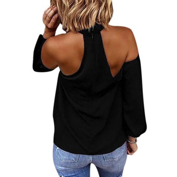 Långärmad skjorta dam mode, casual axelbandslös