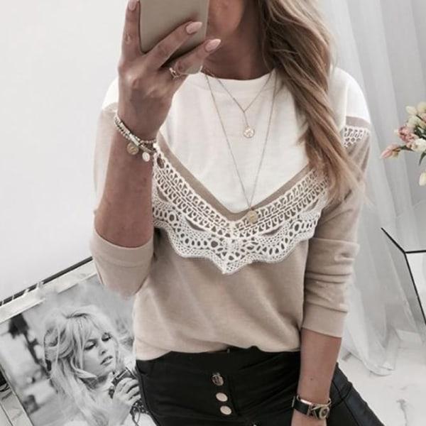 Långärmad skjorta Kvinnor Slim Fit Lace Patchwork
