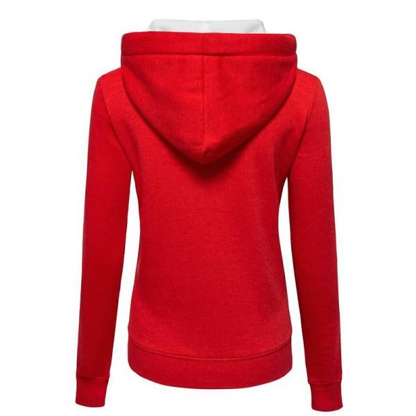 Luvjacka med huva med dragkedja för kvinnor, varm vinterjacka röd 2XL