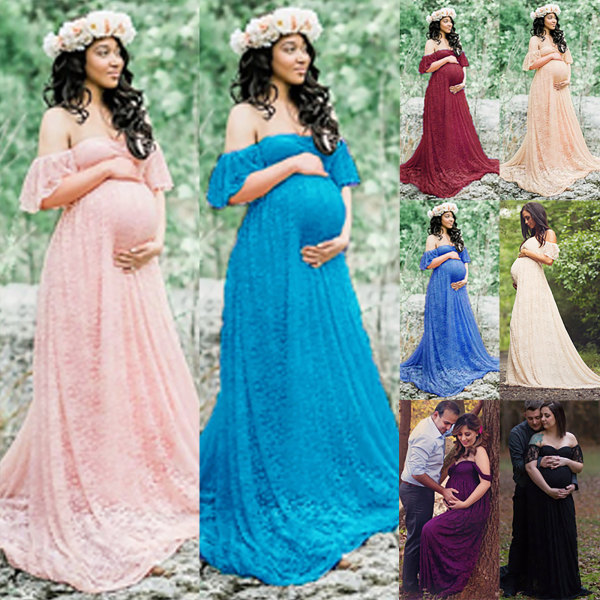 Moderskap off-shoulder ruffled ärm klänning klänning lake blue L