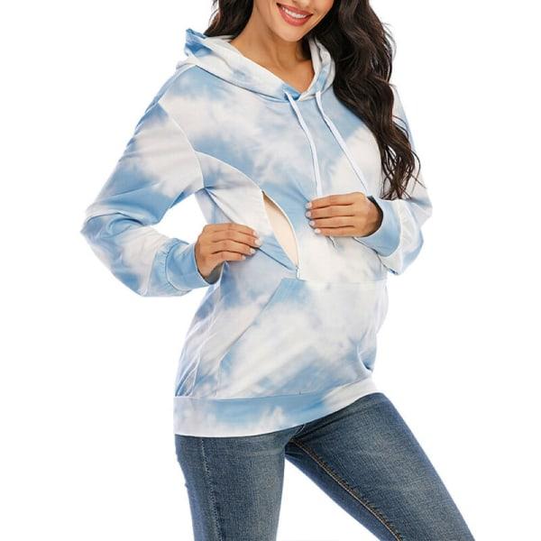 Mammakvinnor Hoodies Amning Gravid omvårdnadströja Blue M