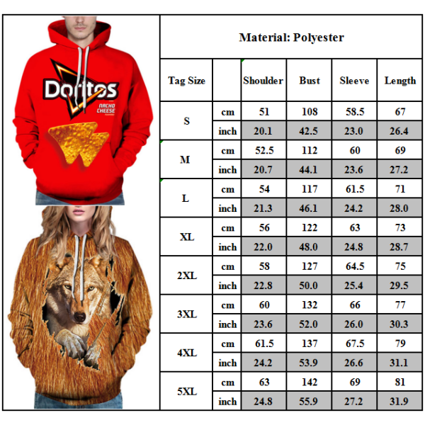 Män Kvinnliga Cheese Dog Print Hooded Sweatshirts Par