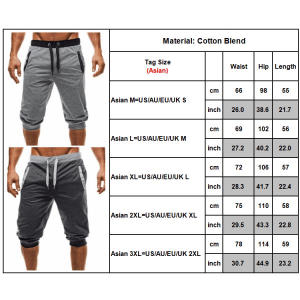 Mäns casual shorts 3/4 Jogger Capri byxor knäshorts