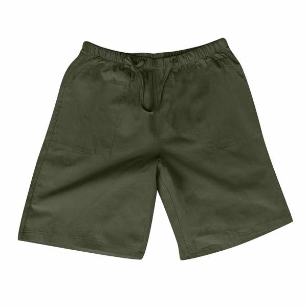 Herrfärgad shorts med bomull och linne i flera fickor army green M