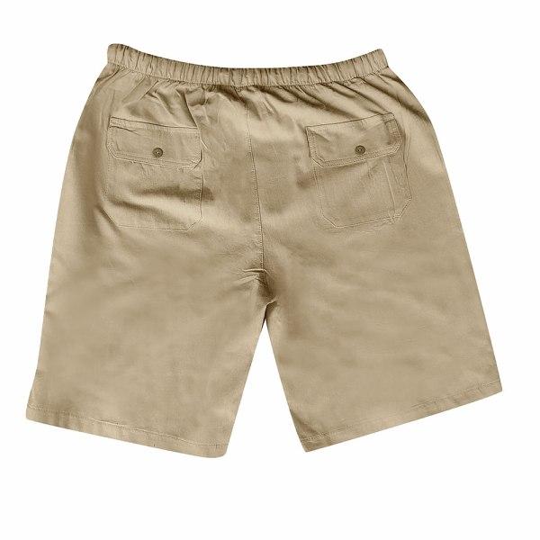 Herrfärgad shorts med bomull och linne i flera fickor khaki M