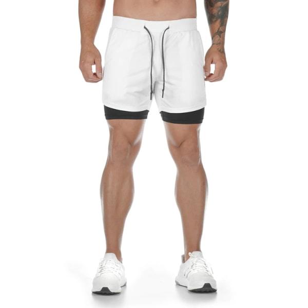 Löparbyxor för män avslappnad ficka med dubbla lager fitnessbyxor L black M