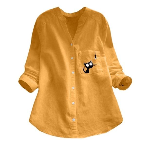 Nya bomulls- och linnetryckta skjortor Mode
