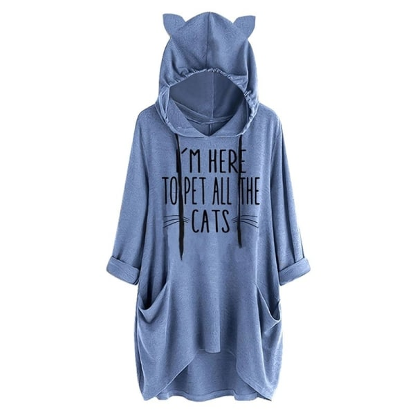 Nya kvinnor Oversize Cat Ear Hooded Female blue S