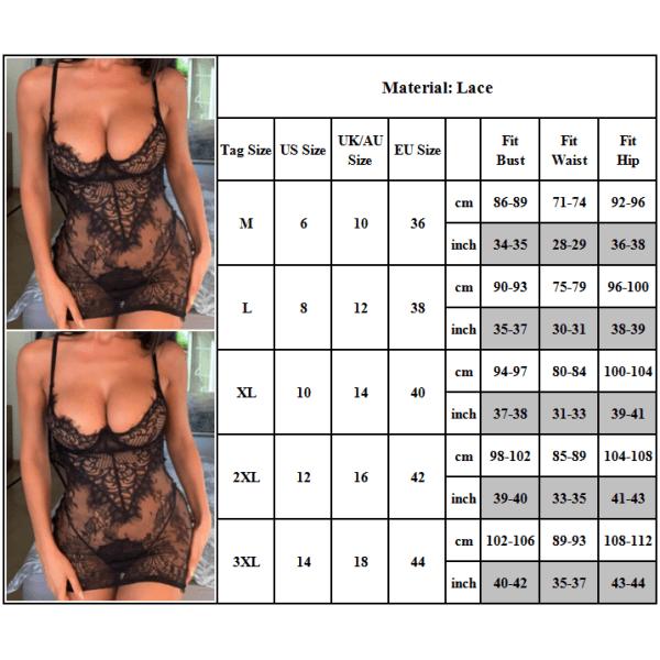 Plus Size kvinnor sexiga ren spetsunderkläder nattklänningar