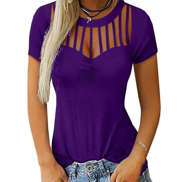 Kvinnors sexiga ihåliga kort ärm Slim Fit T-shirt i plusstorlek Gray S