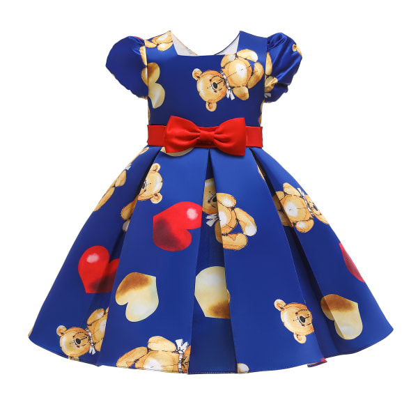 Pompon Sleeve Girls Baby Bear Print Bubble Birthday Dress