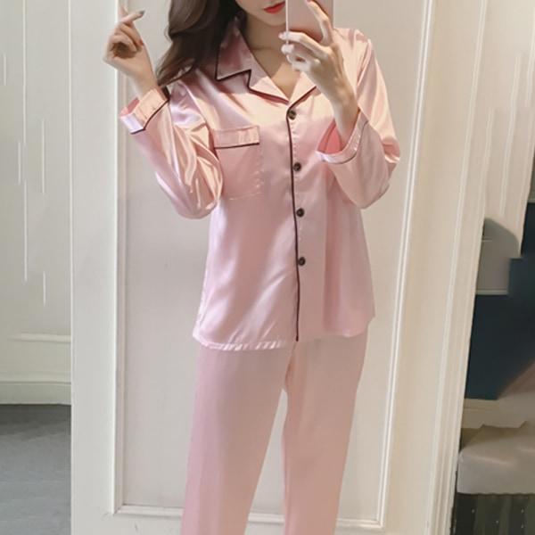 Pyjamas Enfärgad dam Långärmad Pyjamas shorts Skjorta Set rosa XL
