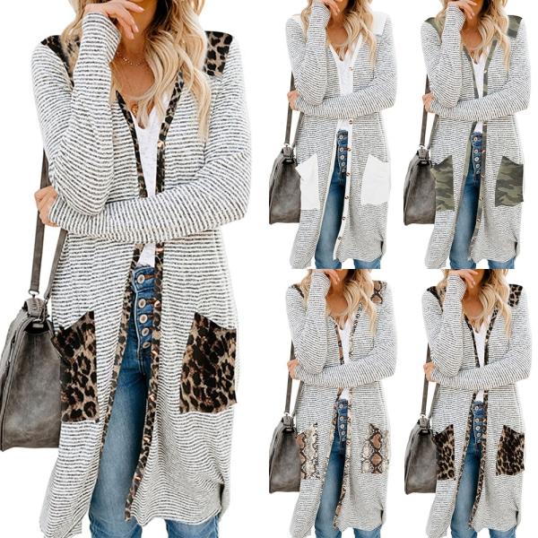 Randig cardiganjacka för kvinnor långärmad, lös stickad tröja leopard XL