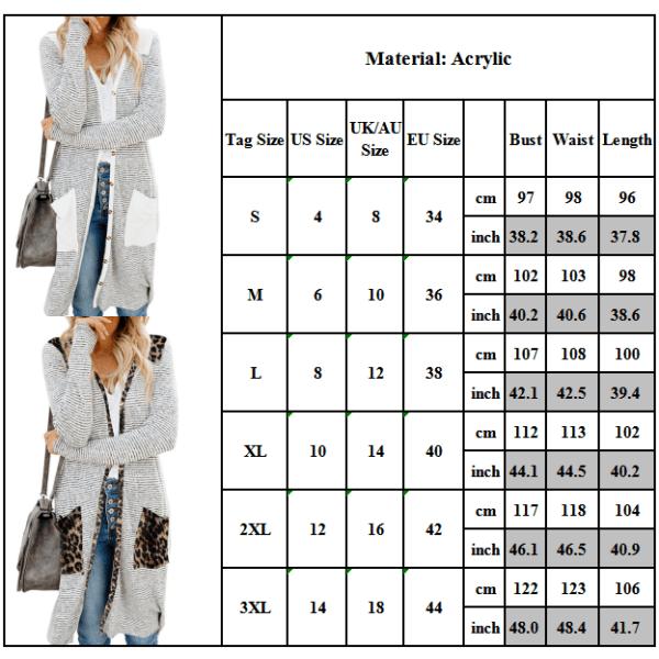 Randig cardiganjacka för kvinnor långärmad, lös stickad tröja kamouflage M