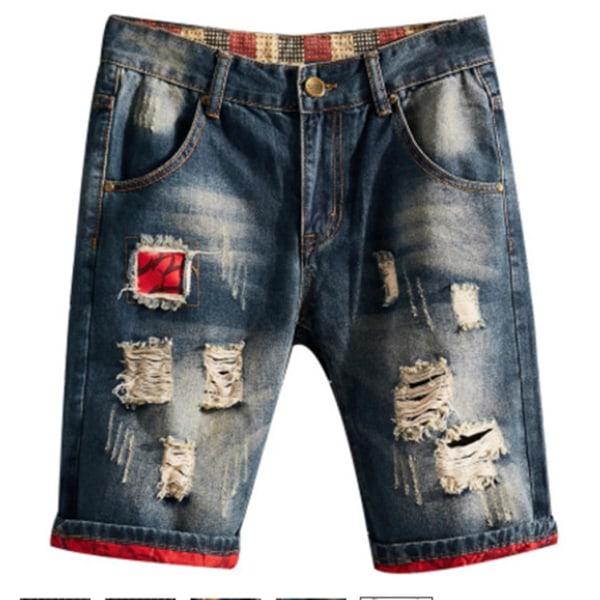 Rippade jeansshorts för män lösa fempunktsbyxor avslappnade män #3 36