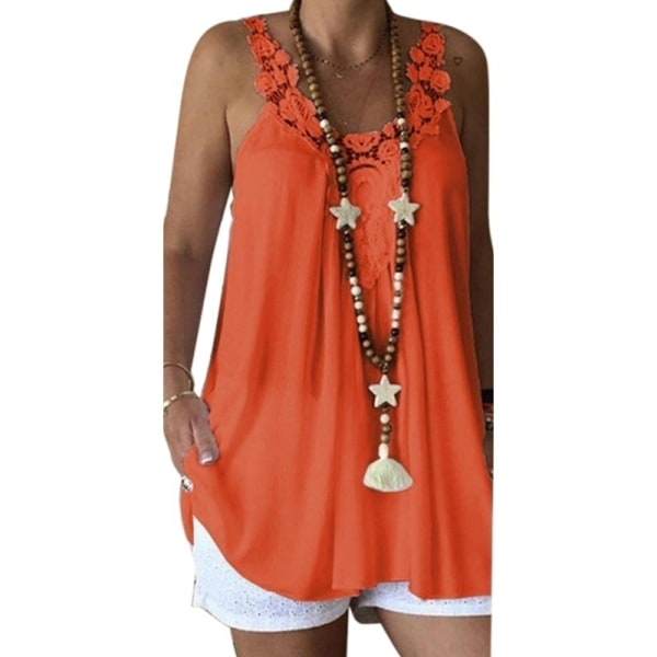 Ärmlös kort kjol för europeiska och amerikanska kvinnor orange 4XL
