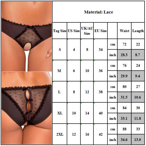 iga kvinnors Open Crotchless Panties Black S