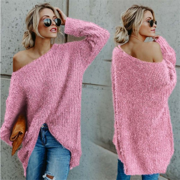 Women's diagonal sweater minimalist style loose pullover sweater pink 2XL