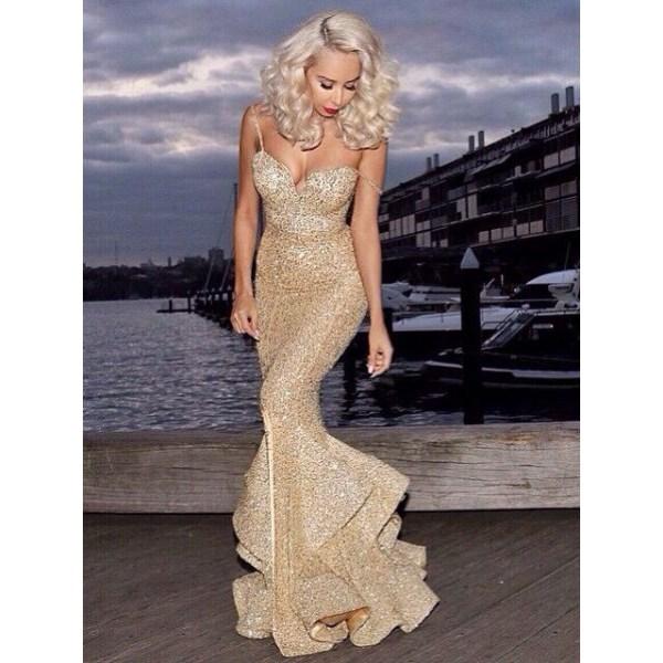 Sexiga kvinnor spaghettirem Badage Slim Mermaid Dress