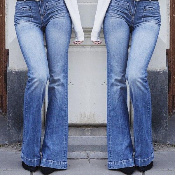 Smala flared jeans för damer, fashionabla jeans med hög midja blå M