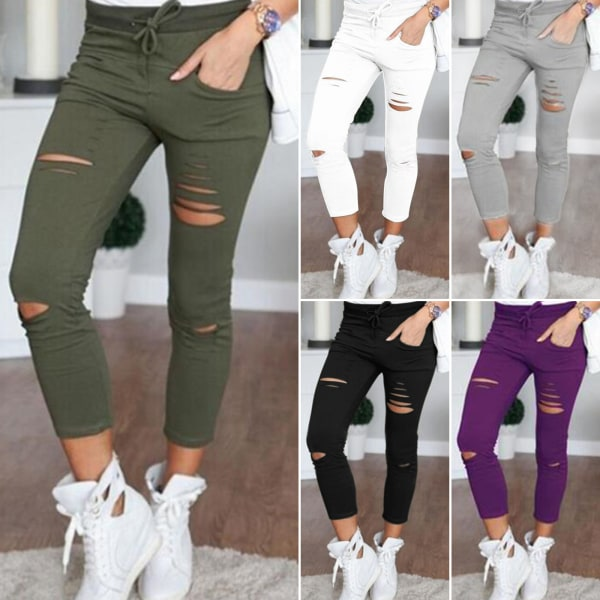 Smala jeans för kvinnor med hög stretch, rippade 9-punktsbyxor mörkgrå M