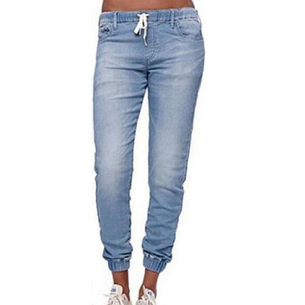 Snörade jeans för kvinnor, smala jeans, stretchbyxor i jeans ljusblå 2XL