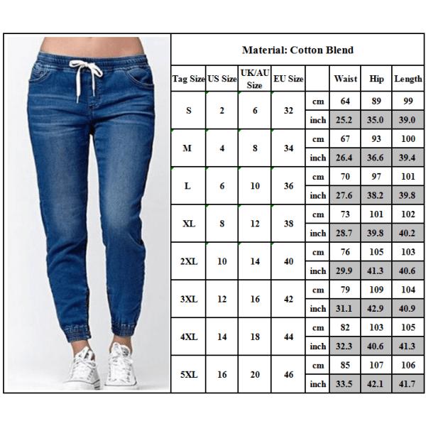Snörade jeans för kvinnor, smala jeans, stretchbyxor i jeans mörkblå 4XL