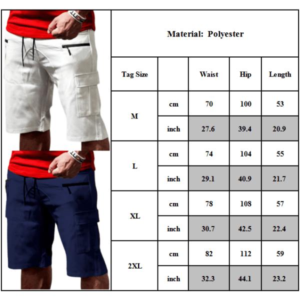 Sportsman fitness multi-pocket fempunkts shorts i ren bomull red 2XL