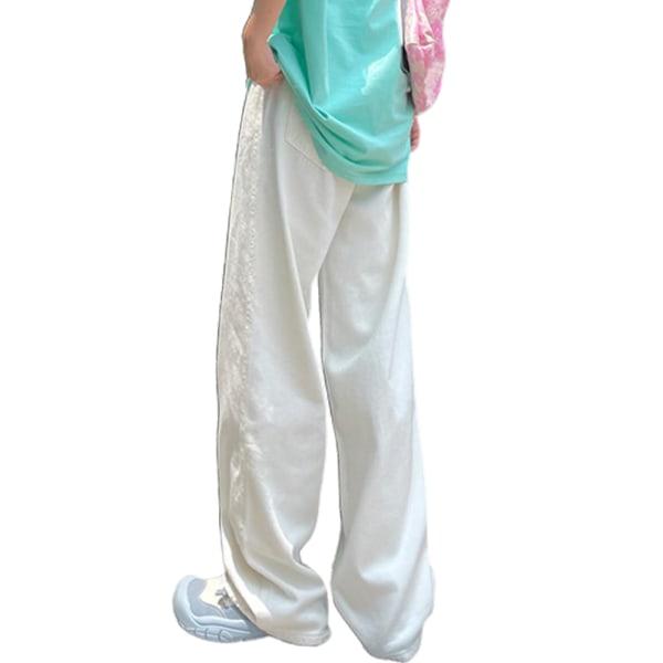Våren och sommaren moppande jeans tunna och mångsidiga byxor white M